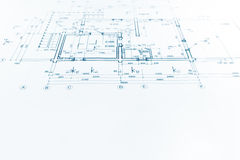 Architectural project, technical drawing, construction plan back Stock Photography