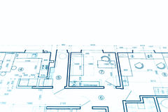 Architectural project, technical drawing, construction plan blue Royalty Free Stock Photos