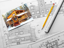 Architectural project of wooden mansion Stock Photography