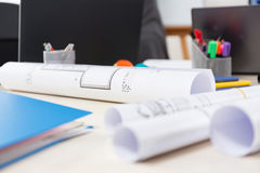 Architectural projects on a desk Stock Photography