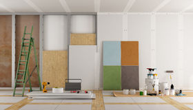 Architectural restoration of an old room Stock Images