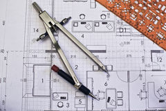 Architectural rolls and blueprints Royalty Free Stock Photos