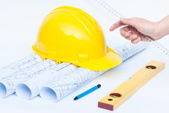 Architectural rolls and tools Stock Photos