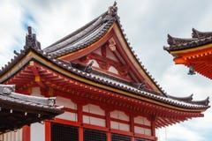 Architectural Roof Detail at Kiyomizu-dera Temple, in Kyoto, Japan. Architectural roof detail against the sky at Kyo-Do Sutra Hall -part of the famous Kiyomizu stock photo