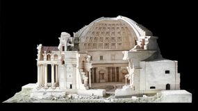 Architectural scale model of the Pantheon in Rome. With an open cutaway section showing the structure of the dome interior royalty free stock photo