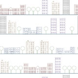 Architectural seamless pattern. The city in a linear style. Royalty Free Stock Photo