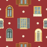 Architectural Seamless Pattern with Vintage Windows. Architectural Seamless Pattern with Detailed Vintage Windows. Vector background in flat style Stock Photo