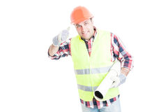 Architectural services concept with handsome builder Stock Image