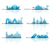 Architectural sights of different countries Royalty Free Stock Photos