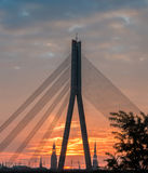 Architectural silhouettes of Riga city, Latvia Royalty Free Stock Images