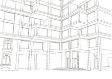 Architectural sketch apartment building Stock Images