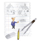 An architectural sketch of an architect of the house Royalty Free Stock Photo