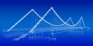Architectural sketch: bridge in blue. 3d wireframe render of a bridge in blue Stock Photography