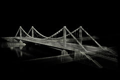 Architectural sketch: bridge in bw. 3d wireframe render of a bridge in b/w Stock Image