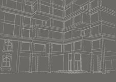 Architectural sketch building with balconies on gray background Stock Photo