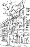 Architectural sketch of a business street with tree and buildings. With windows and people walking around Stock Photography