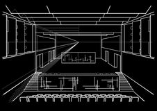 Architectural sketch concert hall on black background Stock Image