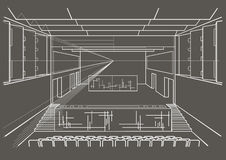Architectural sketch concert hall on gray background Stock Images