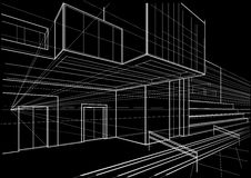 Architectural sketch cubic building black on background. Linear architectural sketch cubic building on black background Royalty Free Stock Photos