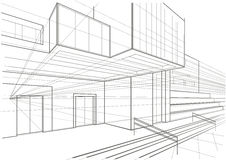 Architectural sketch of a cubic building Royalty Free Stock Image