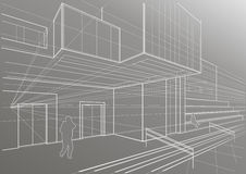 Architectural sketch of a cubic building. Linear architectural sketch of a cubic building on gray background Royalty Free Stock Photography