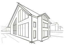 Architectural sketch detached house Royalty Free Stock Image