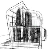 Architectural sketch drawing Stock Image