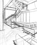 Architectural sketch drawing. Architectural build sketch drawing and furniture 3d model vector illustration