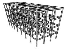 Architectural sketch drawing building model stock photo