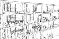 Architectural sketch drawing building model stock photography