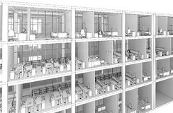 Architectural sketch drawing building model royalty free stock photography