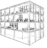 Architectural sketch drawing building model Royalty Free Stock Photo