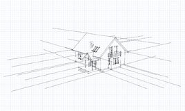 Architectural sketch of a house. 3D sketch of the home on a white background Stock Photography