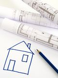 Architectural sketch of house plan Royalty Free Stock Photo