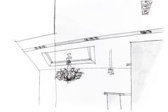 Architectural sketch of an idea for ceiling light in apartment Royalty Free Stock Photos