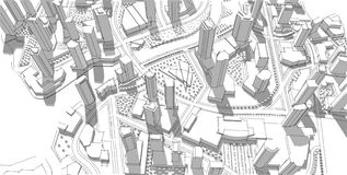 Architectural sketch. Idea. Drawing. City. Royalty Free Stock Photos