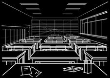 Architectural sketch interior classroom on black background Stock Photo