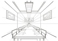 Architectural sketch interior conference room Royalty Free Stock Image