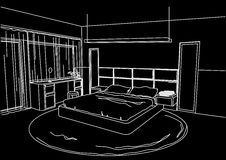 Architectural sketch interior modern bedroom black background Royalty Free Stock Photography