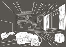 Architectural sketch interior of modern bedroom on gray background Royalty Free Stock Image