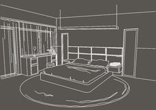 Architectural sketch interior modern bedroom gray background Stock Image