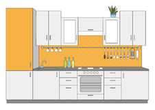 Architectural sketch interior small kitchen front view. Vector illustration of architectural sketch interior small kitchen front view Stock Photography