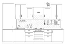 Architectural sketch interior small kitchen front view Stock Photography