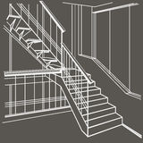 Architectural sketch interior stairs on gray background Royalty Free Stock Photo