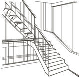 Architectural sketch interior stairs on white background Stock Photo