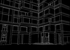 Architectural sketch large apartment building with balconies on black background Royalty Free Stock Images