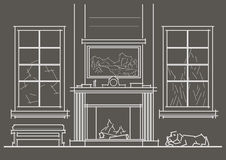 Architectural sketch living-room interior with chimney front view on gray background. Linear architectural sketch living-room interior with chimney front view on Royalty Free Stock Photo