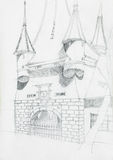 Architectural sketch of medieval building Stock Photos
