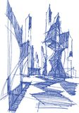Architectural sketch of a modern abstract architecture Royalty Free Stock Photos