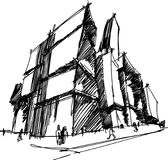 Architectural sketch of a modern abstract architecture. Hand drawn architectural sketch of a modern abstract architecture Royalty Free Stock Photos